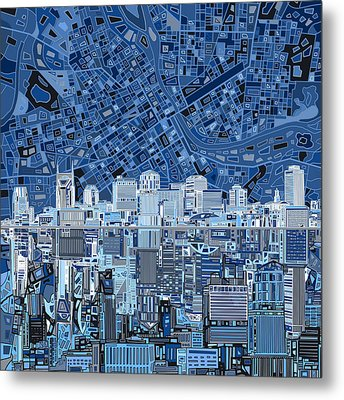 Nashville Skyline Abstract Metal Print