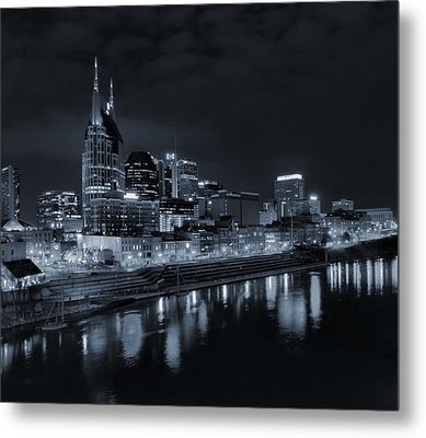 Nashville Skyline At Night Metal Print by Dan Sproul