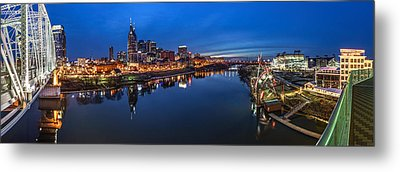 Nashville Skyline Panorama At Night Metal Print by Brett Engle