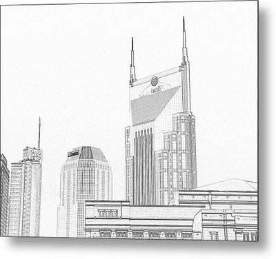 Nashville Skyline Sketch Batman Building Metal Print