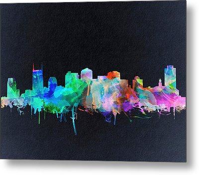 Nashville Skyline Watercolor 10 Metal Print
