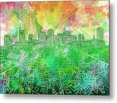 Nashville Skyline Watercolor 2 Metal Print