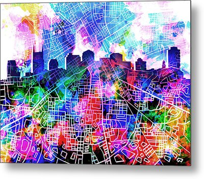 Nashville Skyline Watercolor 5 Metal Print
