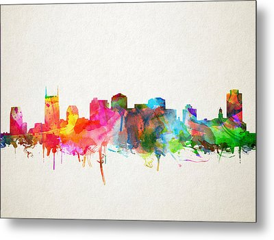Nashville Skyline Watercolor 9 Metal Print