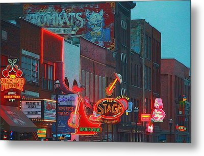 Nashville Strip Lit Up Metal Print by Dan Sproul
