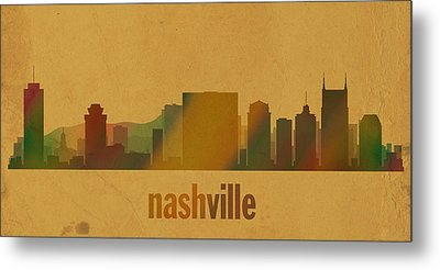 Nashville Tennessee Skyline Watercolor On Parchment Metal Print