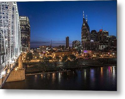 Nashville Tennessee With Pedestrian Bridge  Metal Print