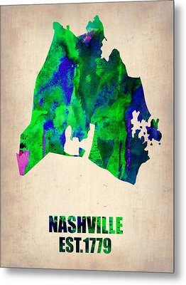 Nashville Watercolor Map Metal Print