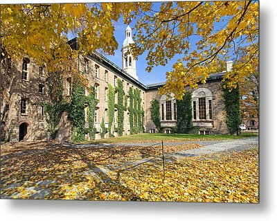 Nassau Hall With Fall Foliage Metal Print by George Oze
