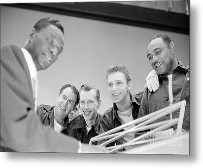 Nat King Cole Playing Piano For Some Fans 1954 Metal Print by The Harrington Collection