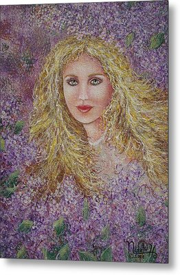 Metal Print featuring the painting Natalie In Lilacs by Natalie Holland