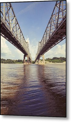 Metal Print featuring the photograph Natchez Bridges Crossing The Mississippi by Ray Devlin