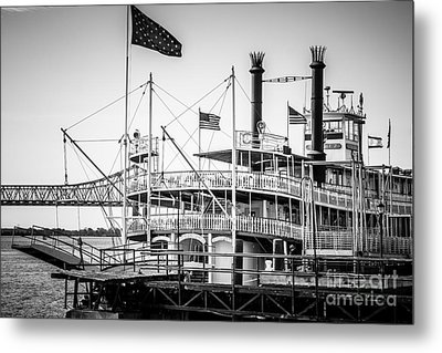 Natchez Steamboat In New Orleans Black And White Picture Metal Print by Paul Velgos