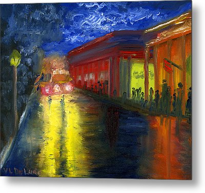 Metal Print featuring the painting Natchitoches Louisiana Mardi Gras Parade At Night by Lenora  De Lude