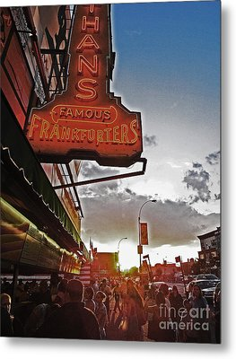 Metal Print featuring the photograph Nathan's Famous Coney Island Sunset Frankfurters by Andy Prendy