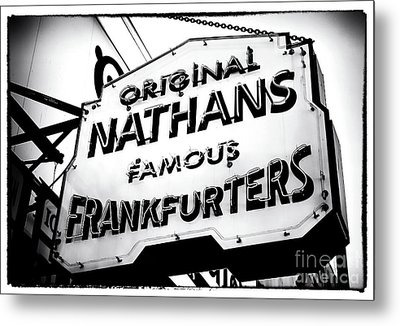 Nathans Famous Frankfurters Metal Print by John Rizzuto
