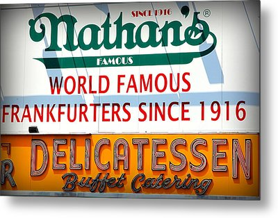 Nathan's Sign Metal Print by Valentino Visentini