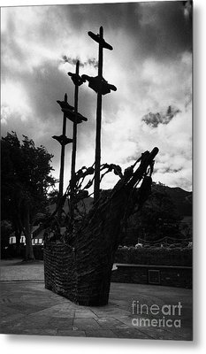 National Famine Memorial The Skeleton Ship By John Behan Beneath Croagh Patrick Mayo Ireland Metal Print by Joe Fox