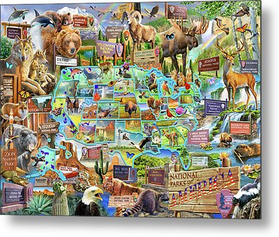 National Parks Of America Metal Print by Adrian Chesterman