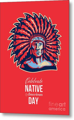 Native American Day Celebration Retro Poster Card Metal Print by Aloysius Patrimonio