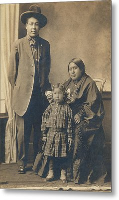 Metal Print featuring the photograph Native American Family by Paul Ashby Antique Image