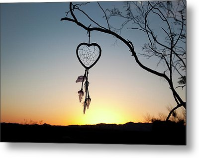 Native American Heart Shaped Metal Print by Angel Wynn