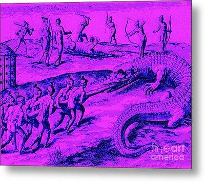 Native American Indian Alligator Hunt Metal Print by Peter Gumaer Ogden