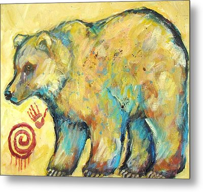 Native American Indian Bear Metal Print by Carol Suzanne Niebuhr