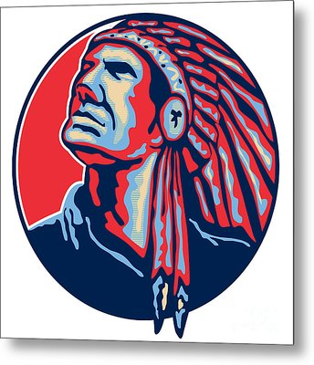 Native American Indian Chief Retro Metal Print by Aloysius Patrimonio