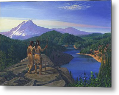 Native American Indian Maiden And Warrior Watching Bear Western Mountain Landscape Metal Print by Walt Curlee