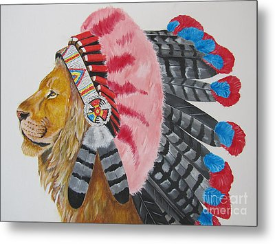 Native American Lion Metal Print