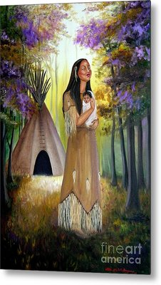 Native American Mother And Child Metal Print