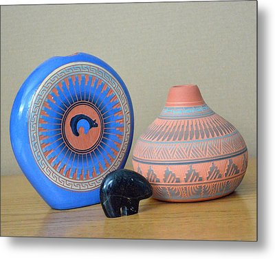 Native American Pottery Metal Print by Lena Wilhite