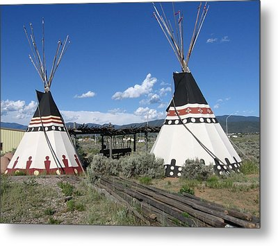 Metal Print featuring the photograph Native American Teepees by Dora Sofia Caputo Photographic Art and Design