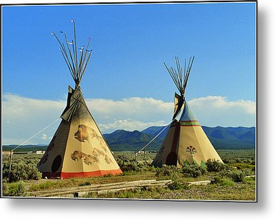 Native American Teepees  Metal Print by Dora Sofia Caputo Photographic Art and Design