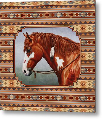 Native American War Horse Southwestern Pillow Metal Print by Crista Forest