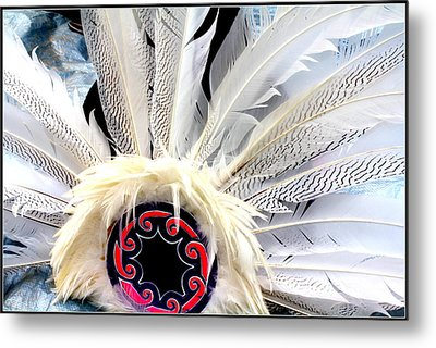 Native American White Feathers Headdress Metal Print by Dora Sofia Caputo Photographic Art and Design