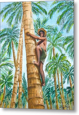 Native Climbing Palm Tree Metal Print
