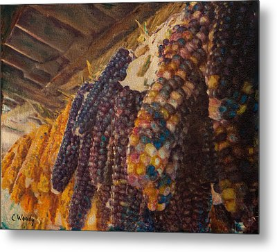 Metal Print featuring the mixed media Native Corn Offerings by Carla Woody