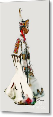 Native Indian Woman Dancer Metal Print by Linda  Parker