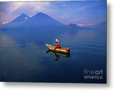 Native Mayan Fisherman On Lake Atitlan Metal Print by Thomas R Fletcher