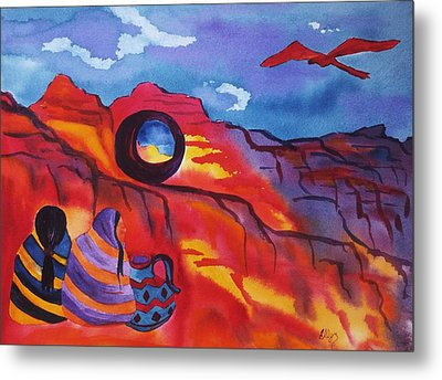Native Women At Window Rock Metal Print