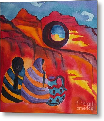 Native Women At Window Rock Square Metal Print