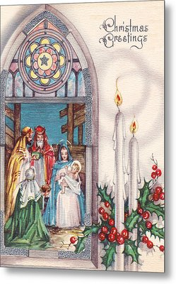 Nativity And Candles Metal Print by Munir Alawi