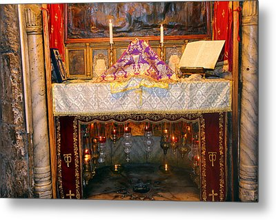 Nativity Grotto Metal Print by Munir Alawi