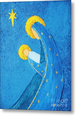Nativity In Blue Metal Print