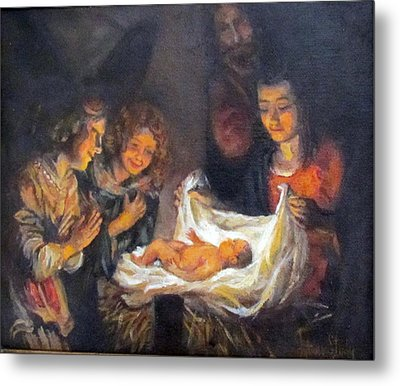 Metal Print featuring the painting Nativity Scene Study by Donna Tucker
