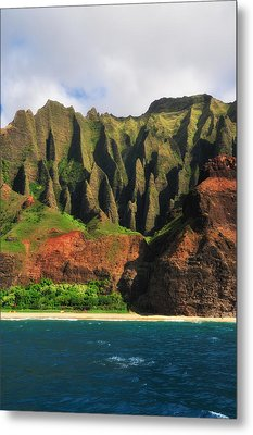 Natural Cathedrals Of Napali Coast Metal Print by Photography  By Sai