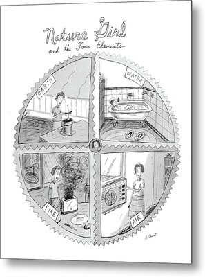 Nature Girl And The Four Elements Metal Print by Roz Chast