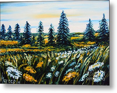 Nature Landscape Field Flowers Pines Art  Metal Print by Drinka Mercep